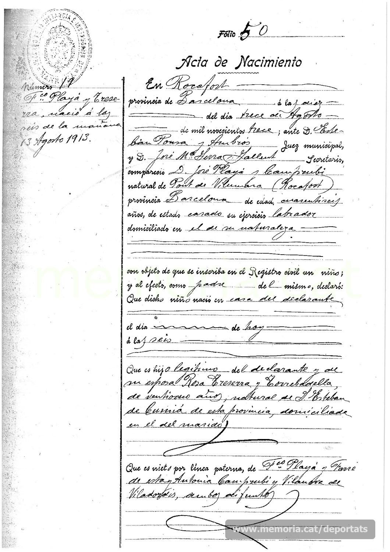 Partida de naixement de Francesc Playà Traserra al Pont de Vilomara. (Font: arxiu del Pont de Vilomara)