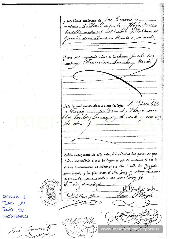Revers de la partida de naixement de Francesc Playà Traserra, on s'esmenta que la seva àvia materna viu a Manresa. (Font: arxiu del Pont de Vilomara)