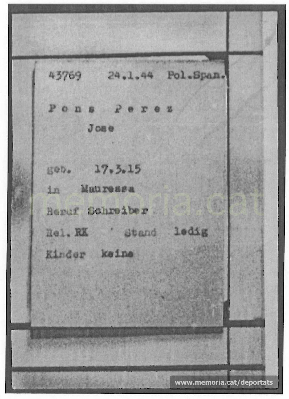 Fitxa de presoner de Pons a Mauthausen, amb el seu número, data d'arribada i categoria. Com a professió posa escrivent (Font: ITS Bad Arolsen)