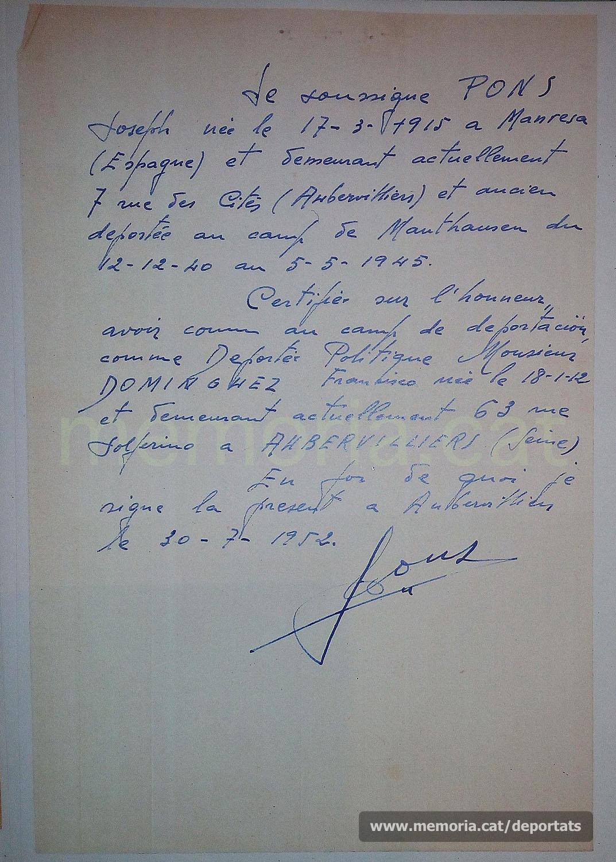 Document de Josep Pons donant fe de la deportació de Francisco Domínguez com a company seu a Mauthausen. Juliol de 1952 (gentilesa de Diego J. Sánchez Guerra)