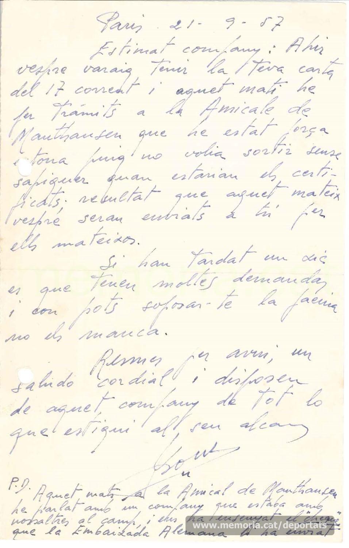 Carta de Josep Pons a la família de Bernat Toran explicant les gestions a l'Amicale de Mauthausen de França en favor seu per a obtenir la compensació del govern alemany. Setembre de 1957 (Font: arxiu particular de Rosa Toran)