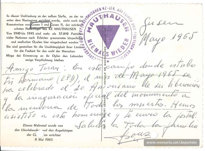 Postal de Josep Pons al germà de Bernat Toran des de Mauthausen, en el 20è aniversari de l'alliberament. Maig de 1965. (Font: arxiu particular de Rosa Toran)