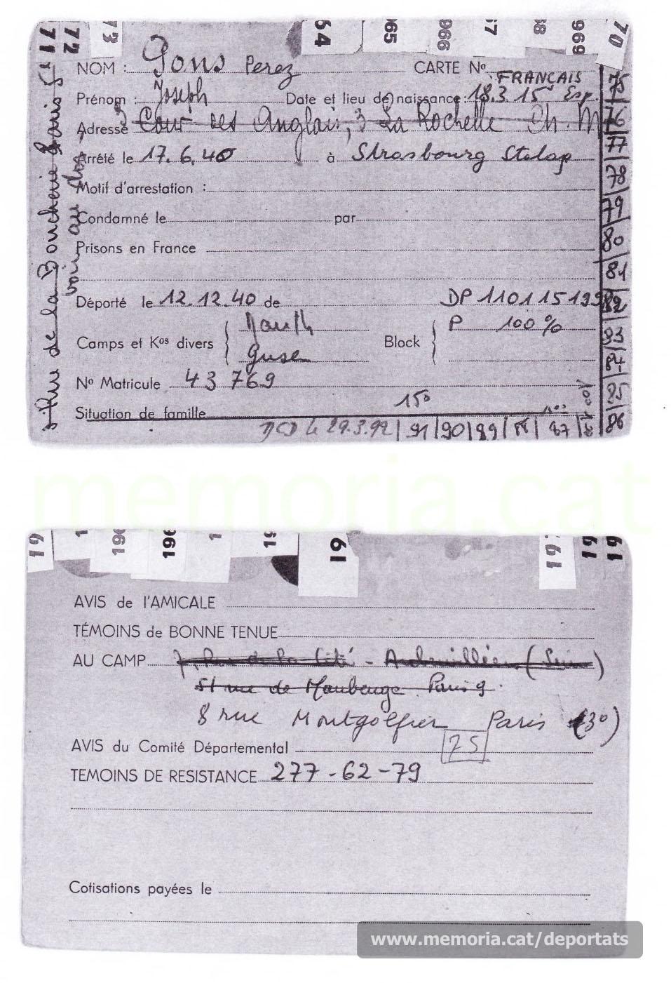 Targeta de soci de l'Amicale de Mauthausen francesa de Josep Pons, amb la seva data de defunció. (Arxiu de l'Amicale Française de Mauthausen)
