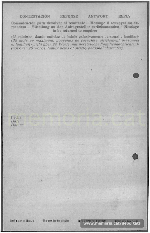 Carta del seu germà Joan, resident a Manresa, a través de la Creu Roja espanyola. La família segueix escrivint a l'stalag 140, desconeixen que fa més d'un any que ja no hi era (Font: ITS Bad Arolsen)