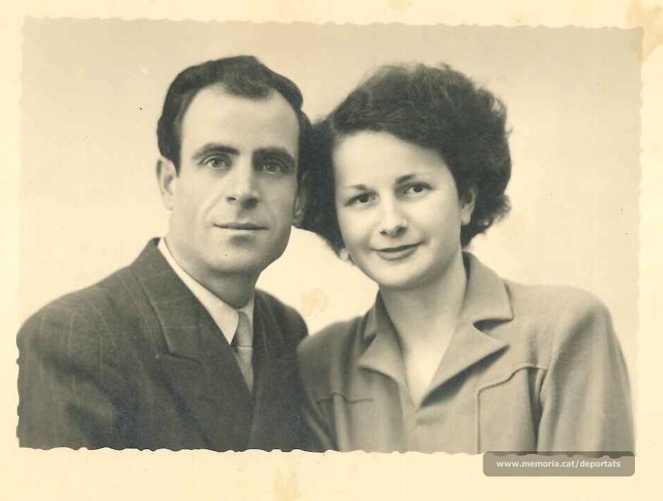 Jaume Real i la seva esposa francesa Léonne Herbelin, amb qui es va casar un cop alliberat i instal·lat a les rodalies de París (Font: arxiu particular de M. Rosa Colilles Brichs)