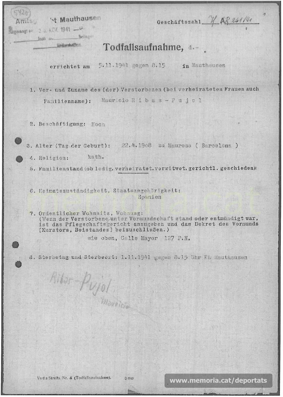 Acta de defunció de Maurici Ribas feta a Mauthausen. (Font: ITS Bad Arolsen).