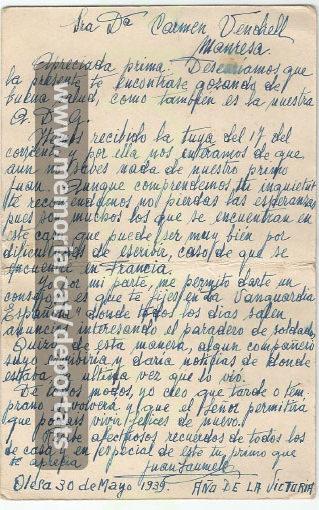 Carta del cosí de Joan Sallés a la seva esposa Carme Vendrell, amoïnada per no tenir-ne notícies. 30-5-1939 (Font: arxiu particular de Josep Martínez Bardés)