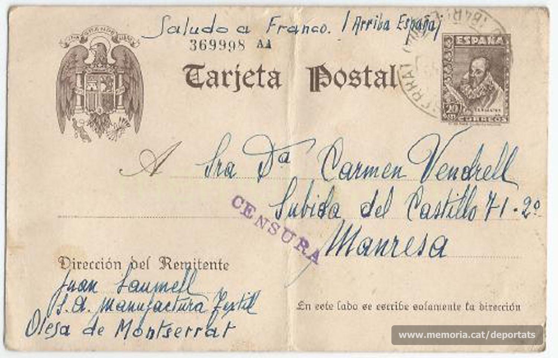 Anvers de la carta, mostrant la cruesa de la situació sota la dictadura i la censura existent. (Font: arxiu particular de Josep Martínez Bardés)
