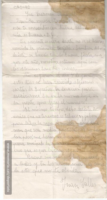 Carta de Joan Sallés des del camp de presoners de guerra a Alemanya (stalag), després de la seva captura a França. 12-9-1940. (Font: arxiu particular de Josep Martínez Bardés)