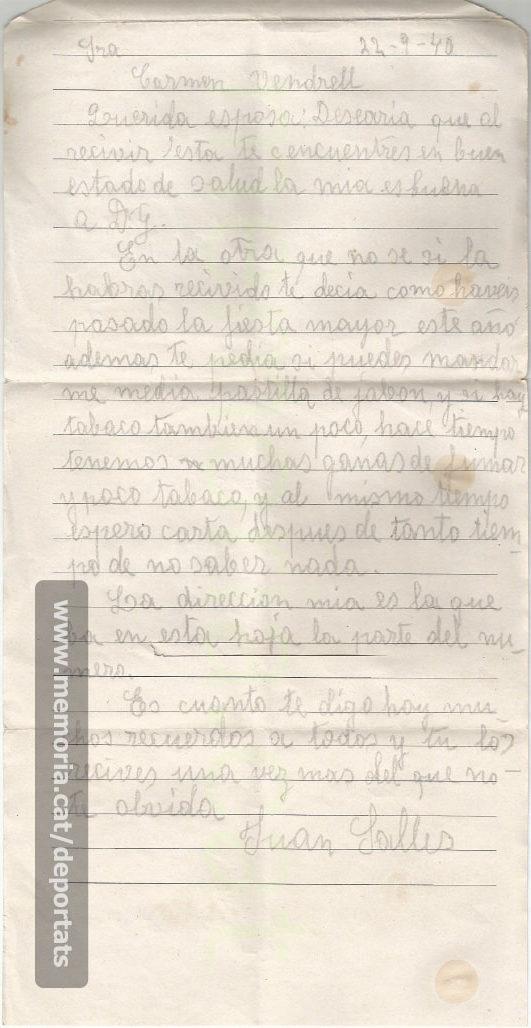Nova carta de Joan Sallés des del camp de presoners de guerra a Alemanya, després de no rebre resposta de la seva muller. 22-9-1940. (Font: arxiu particular de Josep Martínez Bardés)