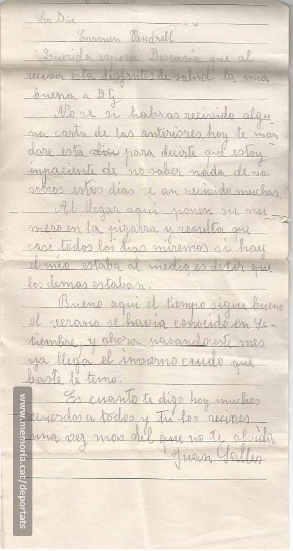 Darrera carta conservada de Joan Sallés des de l'stalag, lamentant altre cop no tenir notícies de la seva esposa. 6-10-1940. (Font: arxiu particular de Josep Martínez Bardés)