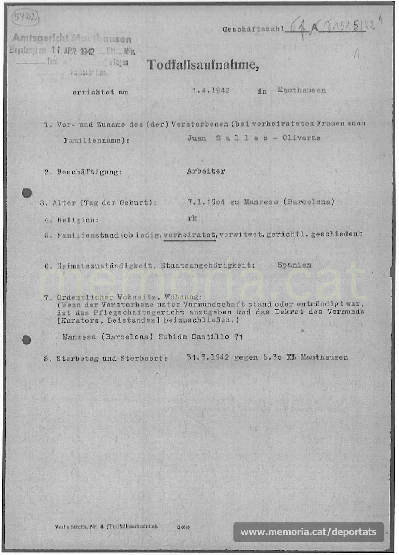 Acta de defunció de Joan Sallés feta a Mauthausen. (Font: ITS Bad Arolsen)