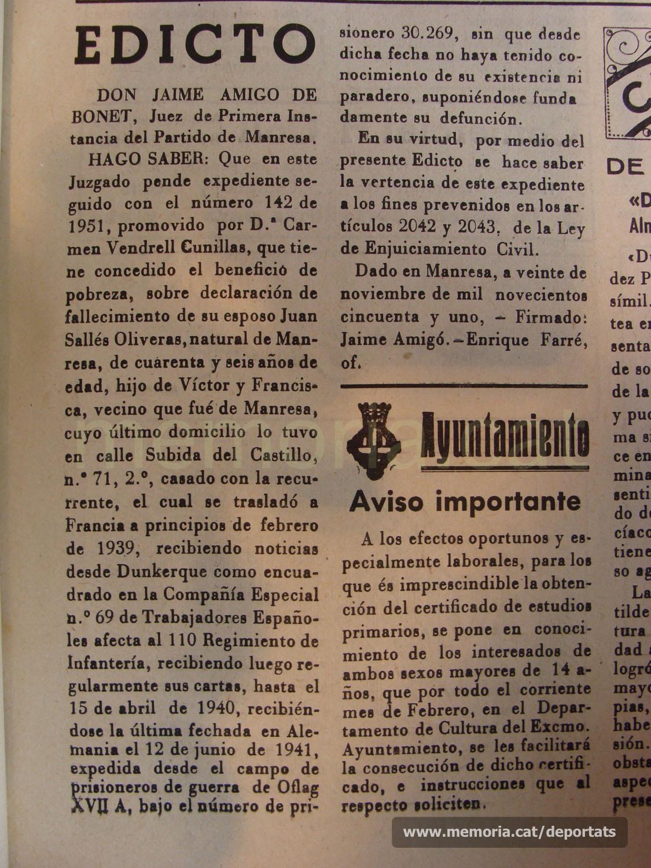 Edicte municipal publicat a la premsa manresana el 1951 pel qual es dóna per mort Joan Sallés, a requeriment de la seva esposa, deu anys després de deixar de tenir-ne notícies. (Font: Joaquim Aloy)