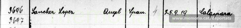 Inscripció d'Àngel Sánchez López al llibre d'entrades de Mauthausen, amb el seu número de presoner (Arxiu del Museu de Mauthausen).