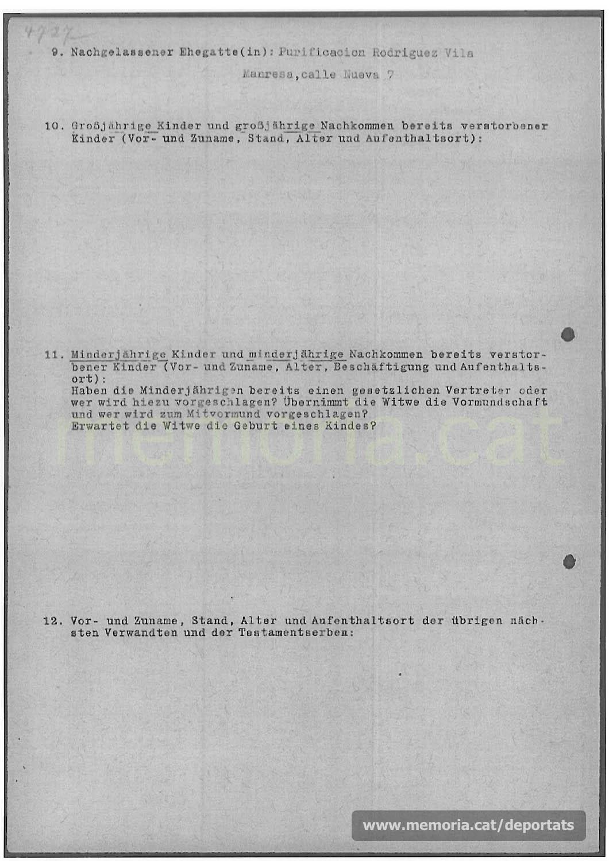 Acta de defunció de Ramir Sánchez Molina feta a Mauthausen. (Font: ITS Bad Arolsen)