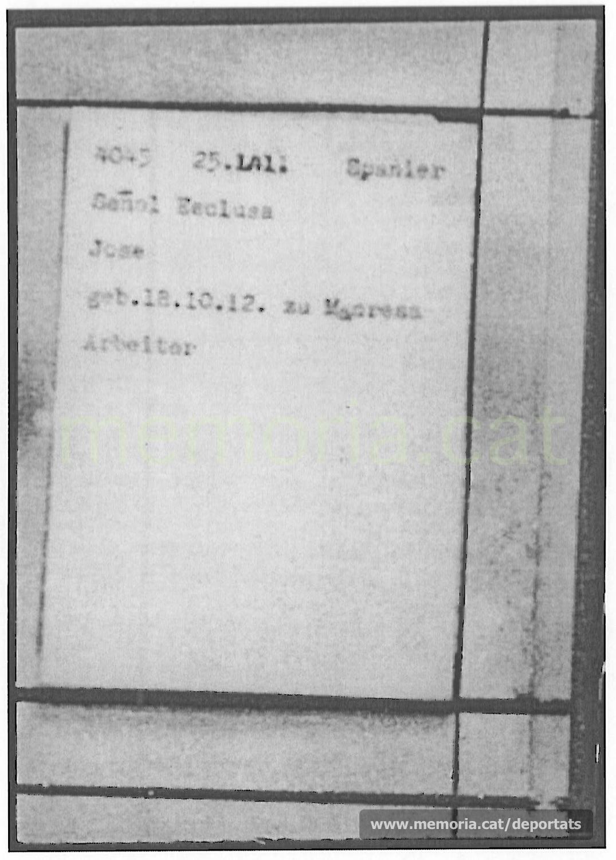 Fitxa de presoner de Josep Señal a Mauthausen, amb el seu número, data d'arribada i categoria. Com a professió hi posa obrer (Font: ITS Bad Arolsen)