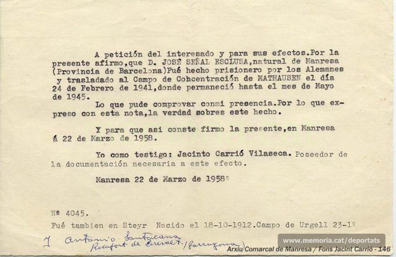 Document de 1958 de Jacint Carrió, deportat, donant fe de l'estada a Mauthausen de Josep Señal. Hi figura anotat el nom del també deportat Antoni Santacana Ballester, de Rocafort de Queralt, supervivent. (Font: Arxiu Comarcal del Bages)