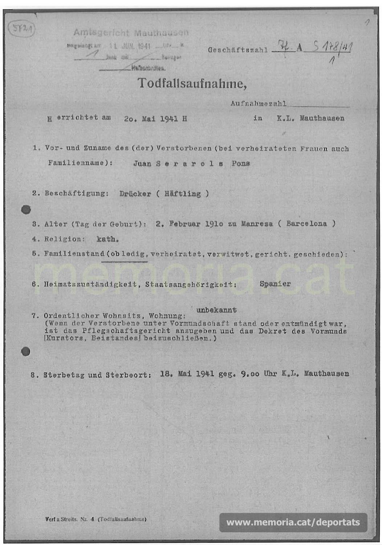 Acta de defunció de Joan Serarols feta a Mauthausen.(Font: ITS Bad Arolsen)