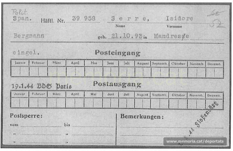 Dades de Serra a Buchenwald dins una fitxa de correu rebut i enviat. Hi consta la data del seu trasllat a Flossenbürg (Font: ITS Bad Arolsen)