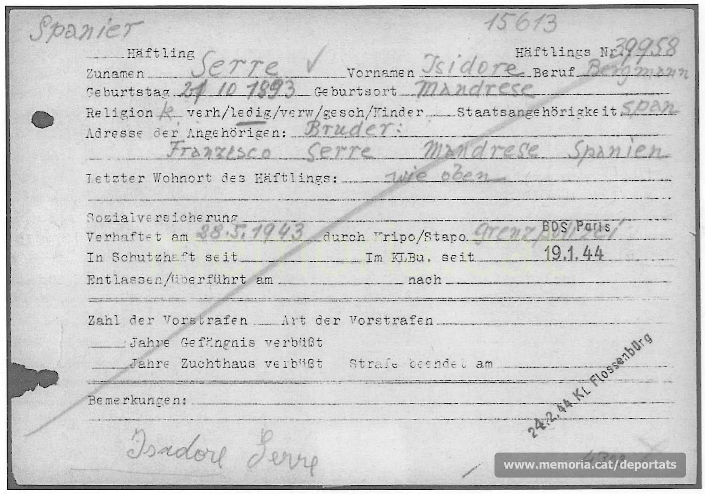 Nova fitxa de presoner de Serra a Buchenwald. Hi consta que fou arrestat per la policia de fronteres (Font: ITS Bad Arolsen)