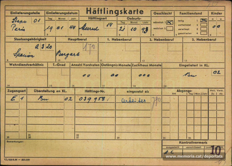 Targeta de presoner de la WVHA. Aquestes targetes no contenien ni tan sols el nom de la persona. (Font: Arxiu del Memorial de Flossenbürg)
