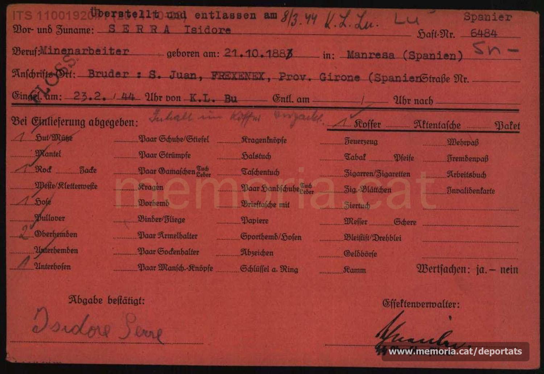 Fitxa de les pertinences d'Isidre Serra en entrar a Flossenbürg (Font: Arxiu del Memorial de Flossenbürg)