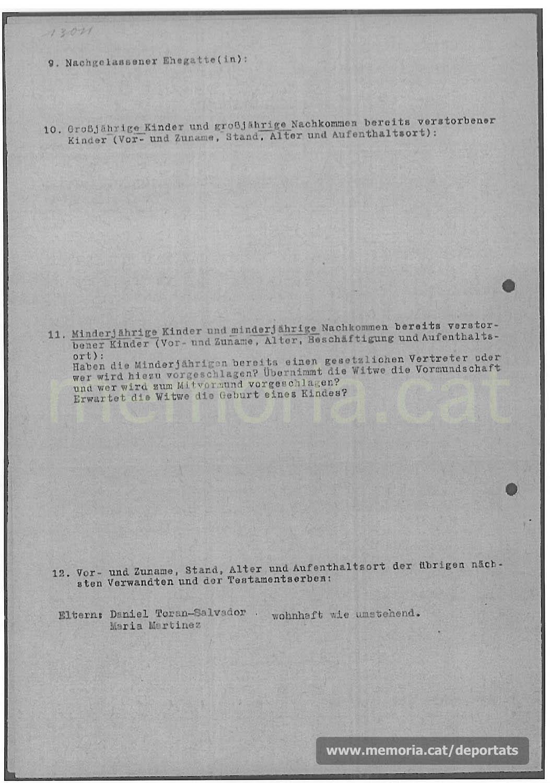 Acta de defunció de Bernat Toran feta a Mauthausen. Com a professió hi consta «empleat de comerç». (Font: ITS Bad Arolsen)