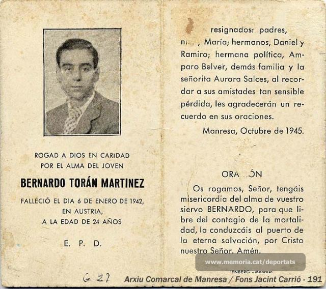 Esquela de Bernat Toran que va fer la família el 1945, després de tenir confirmació de la seva mort. (Font: Arxiu Comarcal del Bages, fons Jacint Carrió)