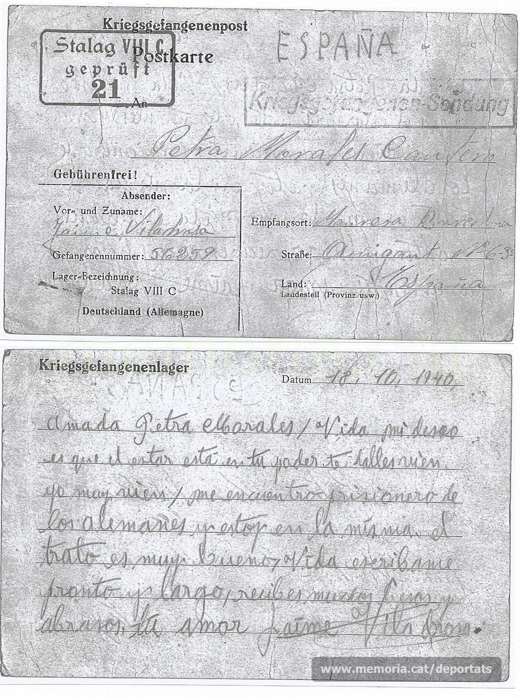 Nova carta enviada des de l'stalag el 18-10-1940 (Font: arxiu particular de Núria Viladrosa Cutrina)