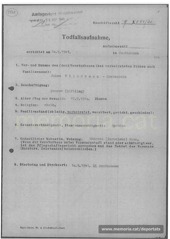 Acta de defunció de Jaume Viladrosa feta a Mauthausen. Com a professió hi consta «paleta». (Font: ITS Bad Arolsen)